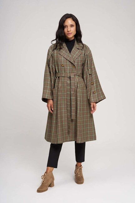 Plaid Trench Coat (Green) - Thumbnail