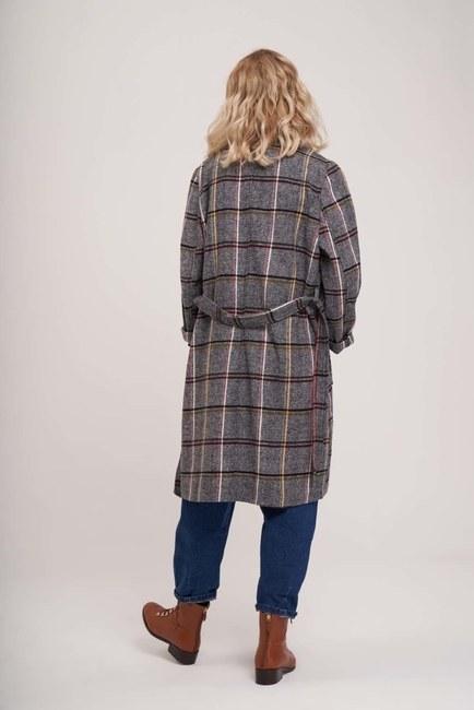 Ekose Uzun Ceket (Gri) - Thumbnail