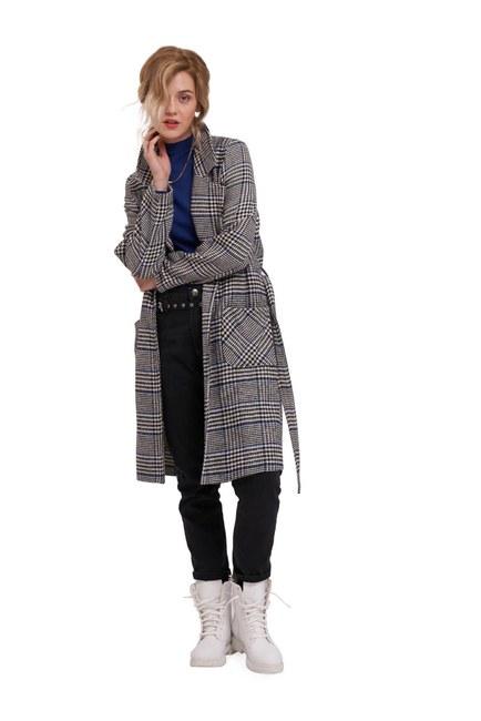 Ekose Uzun Ceket (Siyah/Beyaz) - Thumbnail