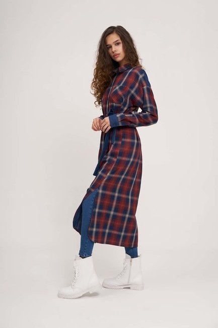 MIZALLE - Plaid Long Shirt (Red) (1)