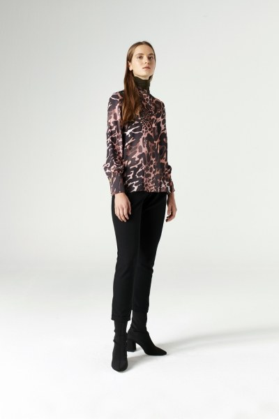 Elasticated Waist Cuffed Trousers (Black) - Thumbnail