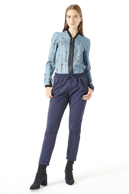 Elasticated Waist Cuffed Trousers (Blue)