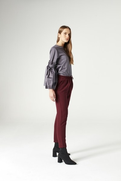 MIZALLE - Elasticated Waist Cuffed Trousers (Claret Red) (1)