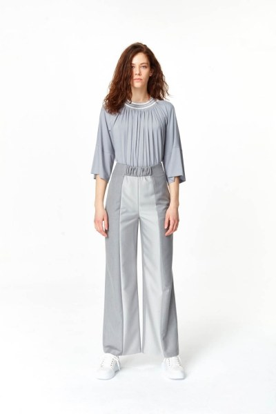 Elastic Waist Detailed Pants (Grey) - Thumbnail