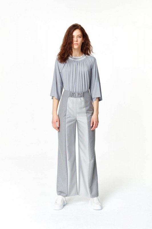 Elastic Waist Detailed Pants (Grey)