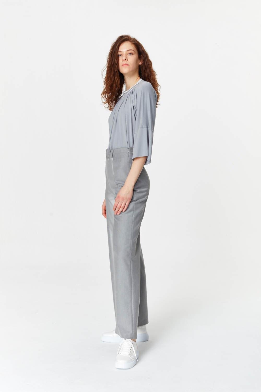 MIZALLE Elastik Bel Detaylı Pantolon (Gri) (1)