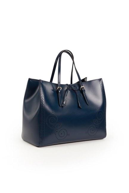 MIZALLE حقيبة جلدية كبيرة مطرزة (الأزرق الداكن)