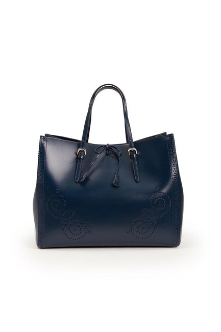 Mizalle - Embroidered Leather Large Handbag (Navy Blue) (1)