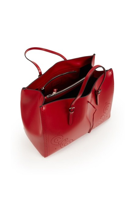 حقيبة يد جلدية كبيرة مطرزة (أحمر) - Thumbnail