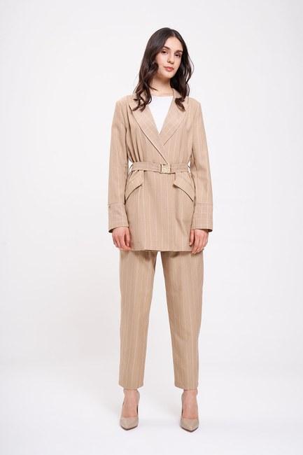 Mizalle - Embroidery Striped Jacket (Beige) (1)