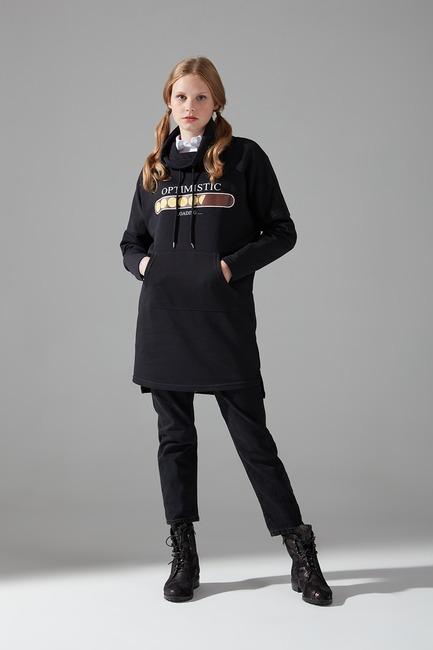 Mizalle - Emoje Baskılı Sweatshirt (Siyah)