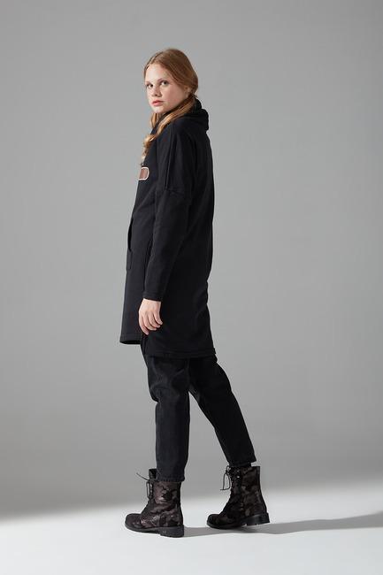 Emoje Baskılı Sweatshirt (Siyah) - Thumbnail