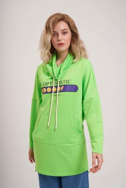 Emoje Baskılı Sweatshirt (Yeşil) - Thumbnail