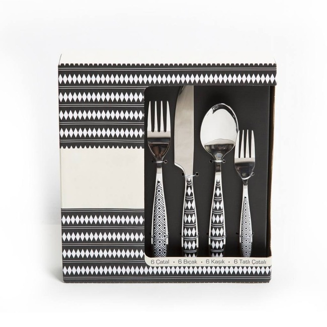 Mizalle Home - 24 Piece Patterned Cutlery Set