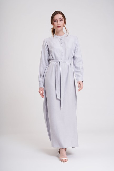 Mizalle - Aerobin Front Button Long Dress (Grey)