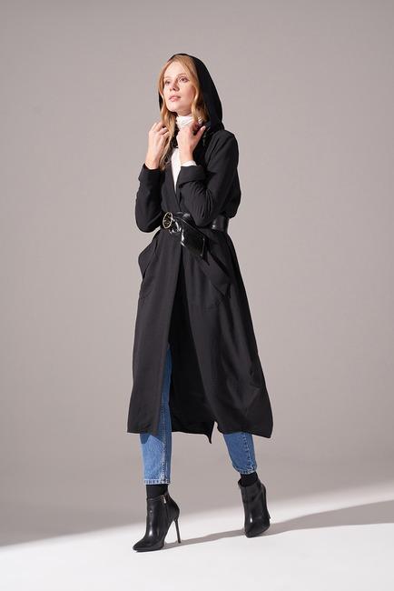 Mizalle - Aerobin Hooded Cape (Black) (1)