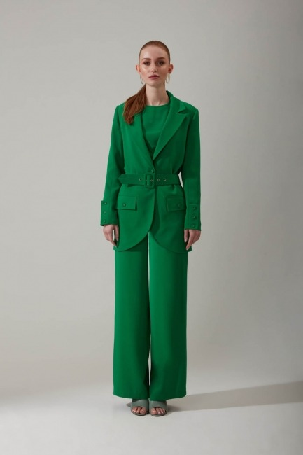 Mizalle - Aerobin Wide Leg Trousers (Green)