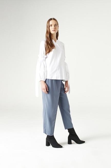 Mizalle - Balloon Sleeve Shirt (White)