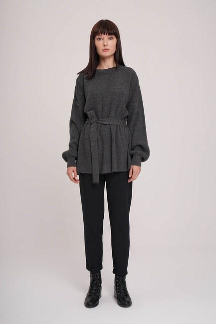 Mizalle - Balloon Sleeve Sweater (Anthracite)