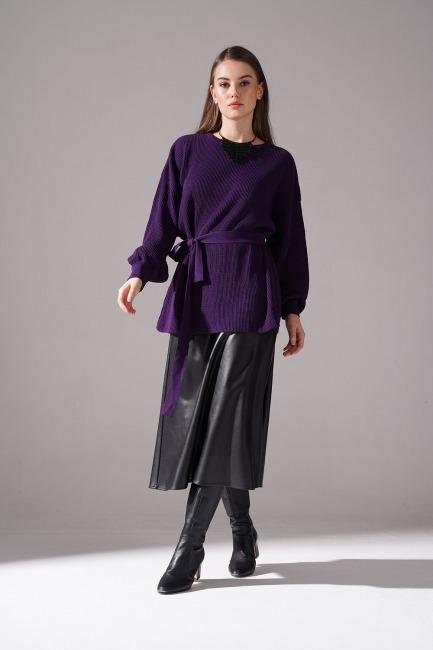 Mizalle - Balloon Sleeve Sweater (Purple)