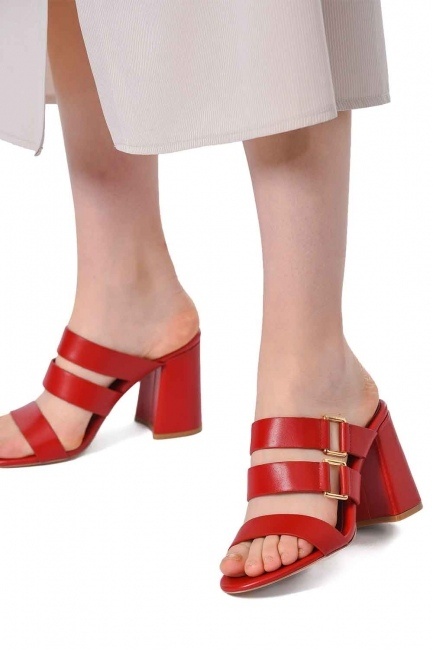 Mizalle - Banded Leather Shoes (Red) (1)