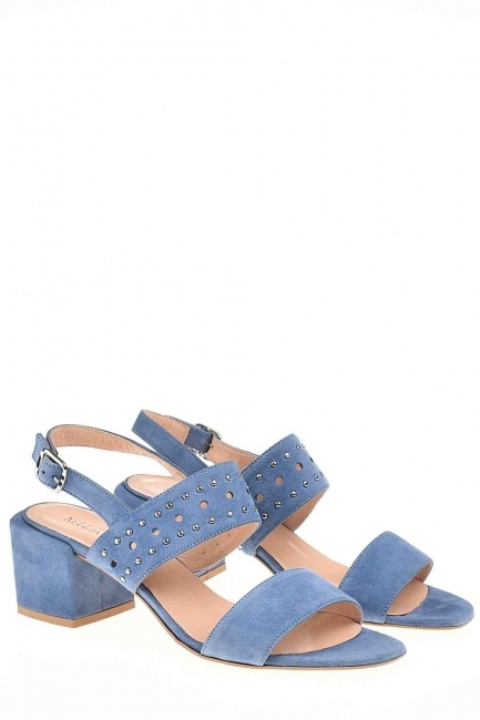 Mizalle - Banded Suede Leather Shoes (Blue)