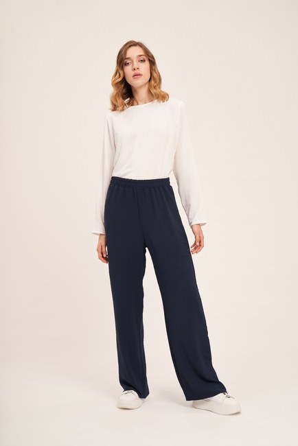 Mizalle - Basic Elastic Waist Trousers (Navy Blue)