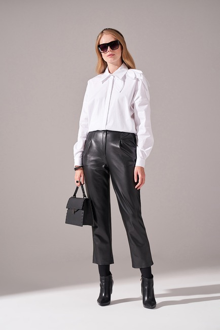 Mizalle - Basic Pleated Leather Trousers (Black)
