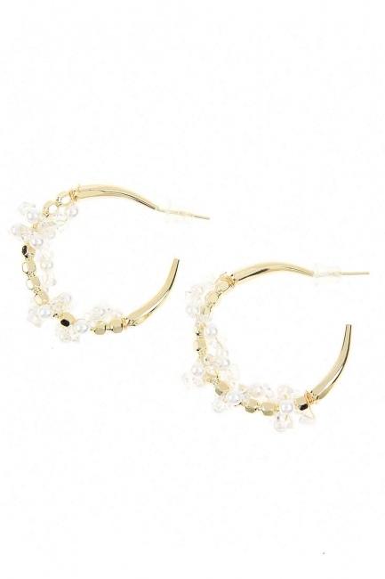 Mizalle - Beaded Ring Steel Earrings (St)