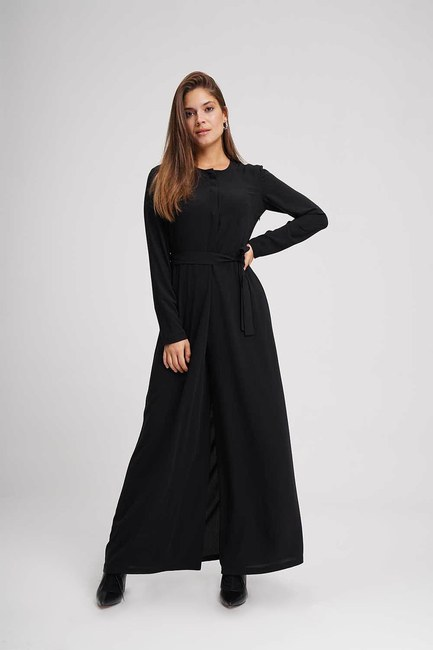 Mizalle - Belted Jumpsuit (Black)