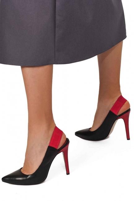 Mizalle - Bi-Colored Leather Heels (Black) (1)