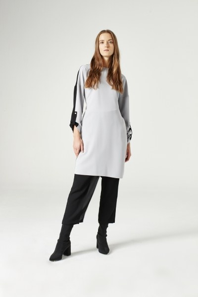 Mizalle - Bicolored Tunic (Grey)