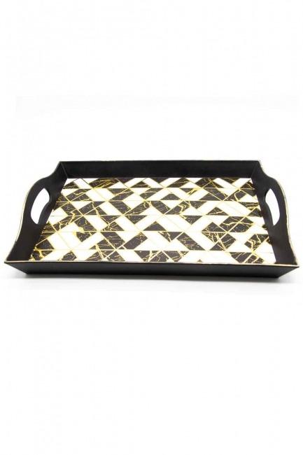 Mizalle Home - Black Decorative Small Tray (Triangle Form)