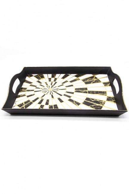 Mizalle Home - Black Decorative Tray (Round Form)