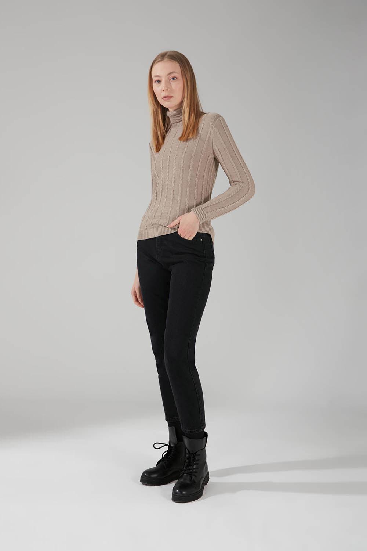 Mizalle - Braiding Turtleneck Knitwear (Grey)
