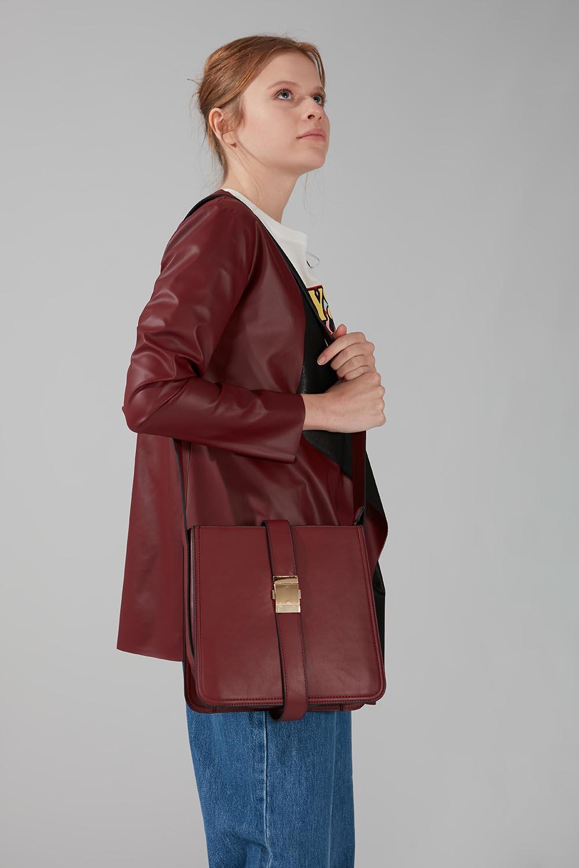Mizalle - Buckle Detailed Shoulder Bag (Claret Red)