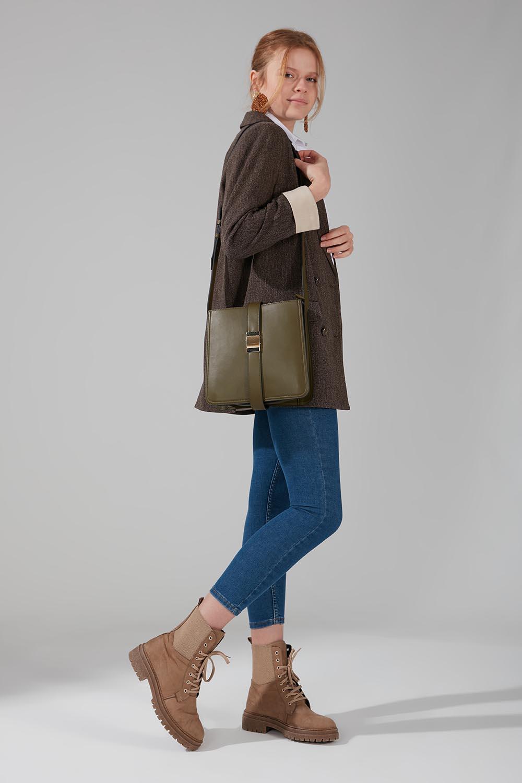 Mizalle - Buckle Detailed Shoulder Bag (Khaki)