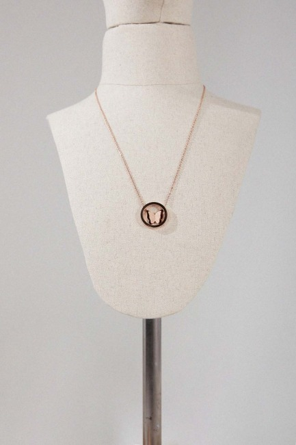 Mizalle - Butterfly Steel Necklace (Rose)