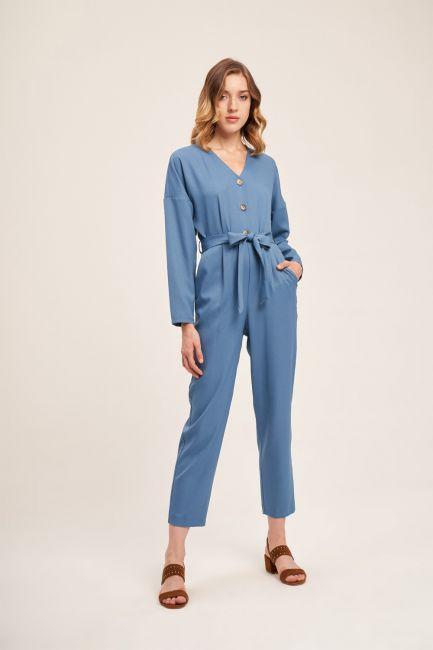 Mizalle - Buttoned Crepe Jumpsuit (Indigo)