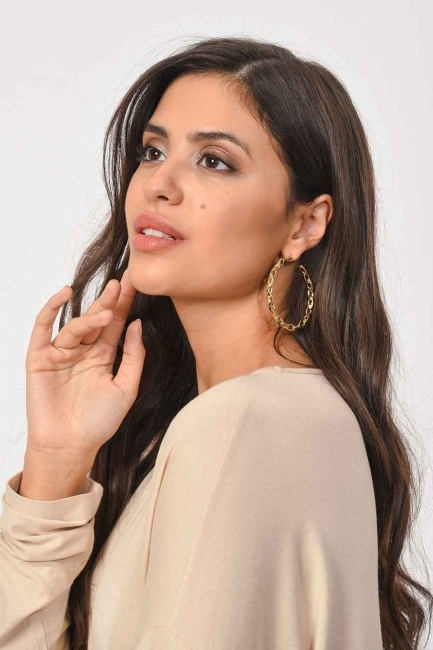 Mizalle - Chain Detailed Ring Earrings (Small) (St)