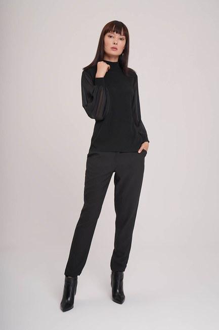 Mizalle - Chiffon Sleeves Turtleneck Tricot (Black)