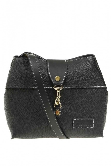 Mizalle - Classic Shoulder Bag With Front Clip (Black)