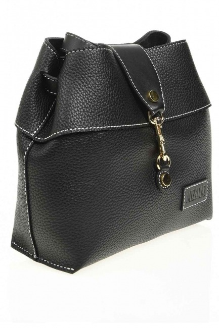 Mizalle - Classic Shoulder Bag With Front Clip (Black) (1)