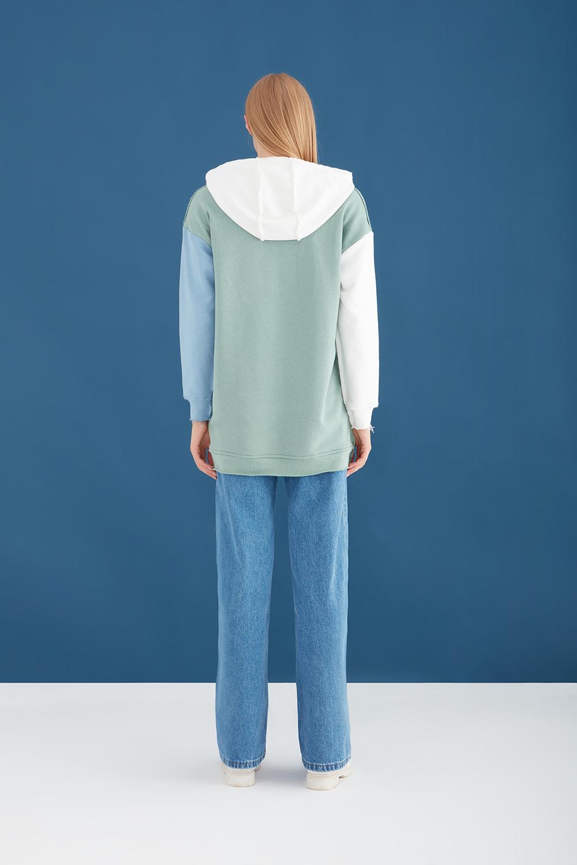 Color Block Oversize Green Sweatshirt