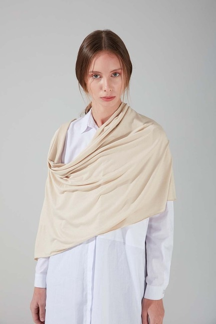 Mizalle - Combed Cotton Shawl (Beige)