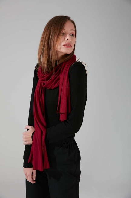 Mizalle - Combed Cotton Shawl (Claret Red)