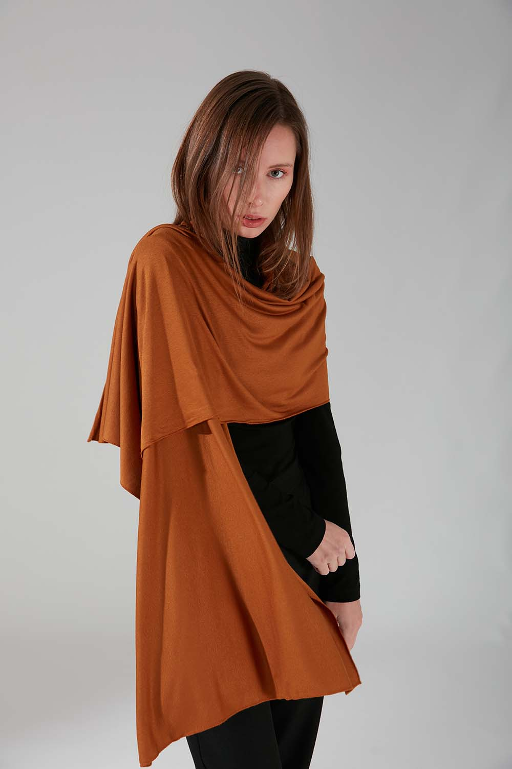 Mizalle - Combed Cotton Shawl (Copper Color)