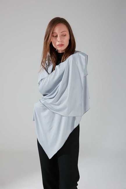Mizalle - Combed Cotton Shawl (Grey)