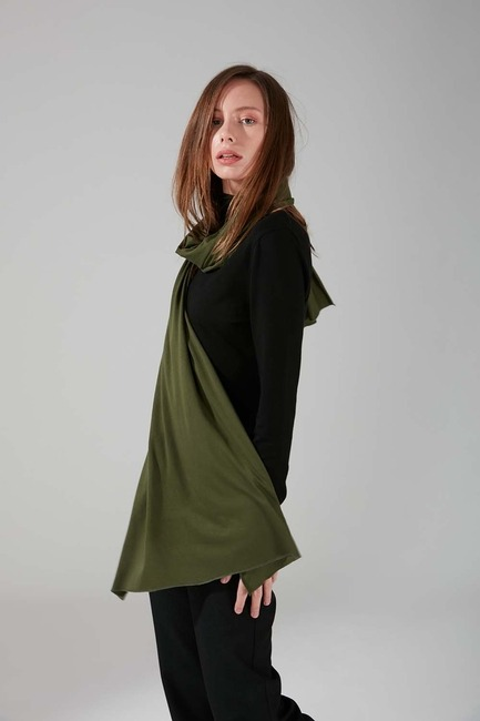 Mizalle - Combed Cotton Shawl (Khaki)