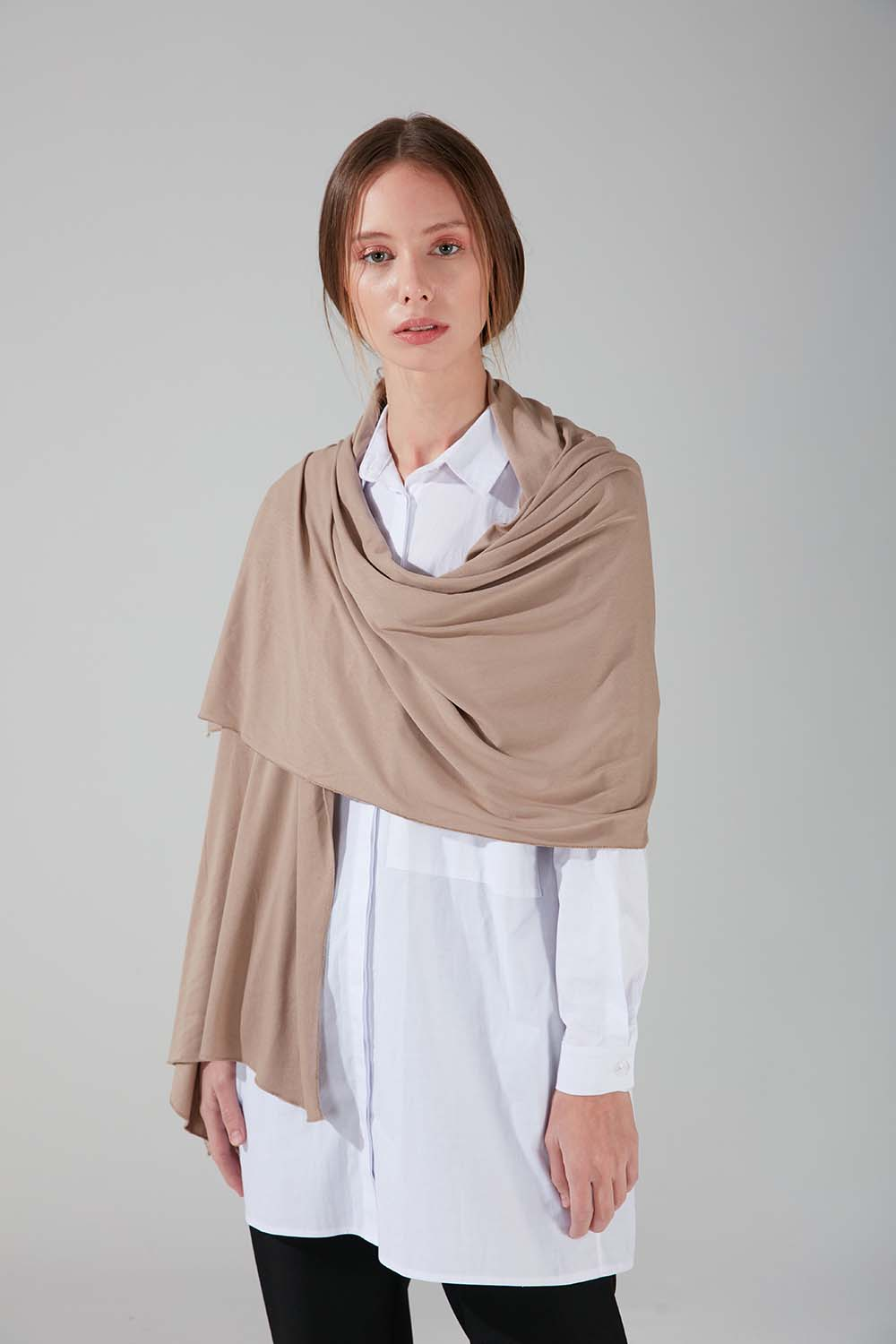 Mizalle - Combed Cotton Shawl (Light Brown)